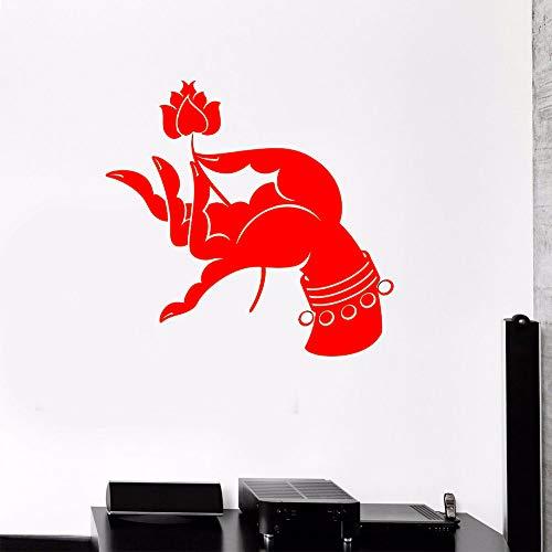 yiyiyaya Adesivo Murale Mano Buddista Buddismo Induismo Yoga Meditazione Adesivi in   Vinile Decorazioni per la casa Soggiorno Yoga Studio Decorazione Murale Rosso 56x58cm