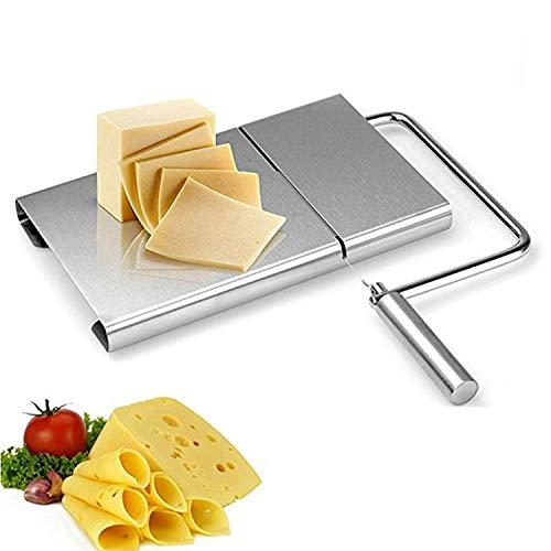 SAVORLIVING Käsehobel Edelstahl Draht Käseschneider Butterschneider mit Servierbrett für harten und halbharten Käse, Butter, Kuchen, Gemüse, Schinken -