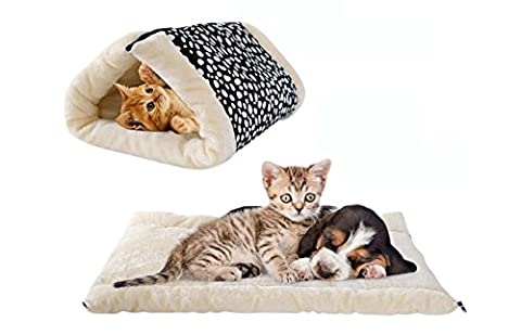 2 En 1 Pet Soft Coussin lavable Pet Kennel Crate Mat Road Puppy Pad Fleece Self Chauffage Sofa Dog Cat Jouer Tunnel, Jouets Pour Petit Animal Crinkly Fun ( Color : Blackdot )