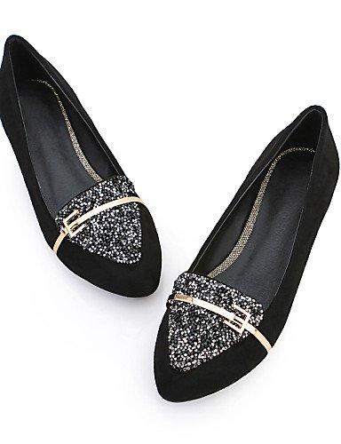 GS~LY Chaussures Femme - Décontracté / Bureau & Travail - Noir / Bleu / Rouge - Talon Bas - Confort / Ballerine - Plates - Cuir black-40