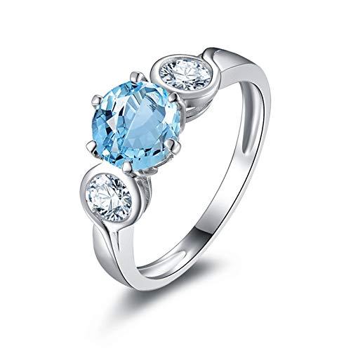 SonMo Ring Anillo Compromiso Diamante Anillos de Plata de Ley Mujer Anillos...