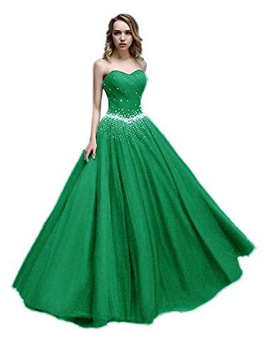 APXPF Damen Lange Tüll Perlen Prinzessin Abendkleider Prom Ballkleid 12 Grün - Ballkleid Mit Perlen Mieder