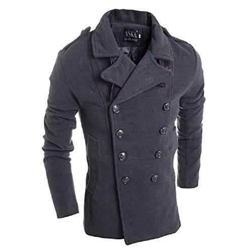 BOMOVO Herren Slim Trench Coat Warm Pea Coat Windbreaker Grau