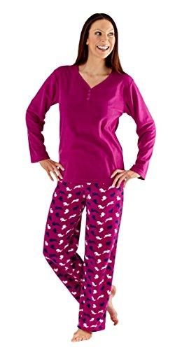 i-smalls - Pigiama invernale da donna, morbido e caldo, motivo: animali, pigiama lungo Purple