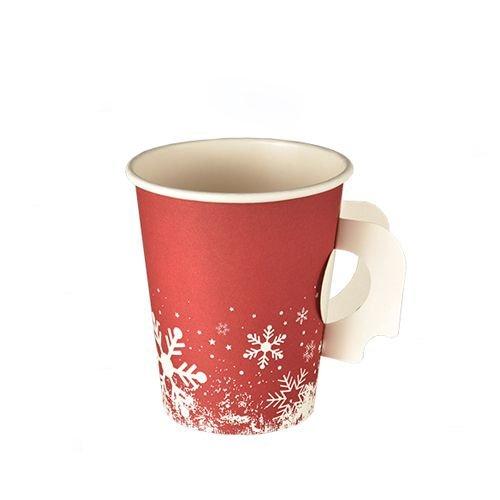 """1.000 Trinkbecher mit Henkel, """"Winter Time"""" Pappe 0,2 l Ø 8 cm · 9,3 cm, Hartpapierbecher mit Griff Pappbecher Thermobecher, Glühweinbecher Weihnachtsmarkt Weihnachtsfeier, extra dickwandige Becher für Kalt- und Heißgetränke wie Punsch, Glühwein, Kaffee, Tee, ..."""