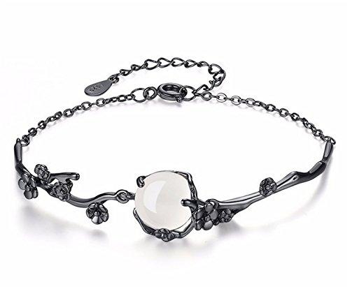 Dreamy Damen Katzenauge Stein Mondstein Pflaumenblüte 925 Sterling Silber Charm-Armband Temperament Armbänder (Manschette Mondstein Armband)