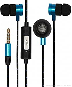 Premium 3.5mm In Ear Bud Handsfree Headset Earphones With Mic Compatible For Xiaomi Redmi 3S -Cyan
