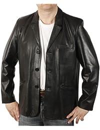 Schwarzer Leder-Blazer mit klassischem Schnitt