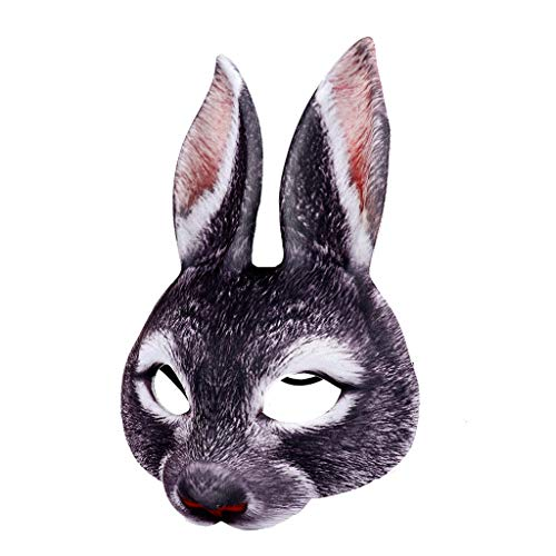 Lustige Tiere Kostüm Für - Sayla Halloween Maske Lustiges Kostüm Cosplay Maske-Häschen Kostüm Tier Erwachsenes Kostüm Halbmaske für Party Festival Halloween Maskerade Fancy Ball Cosplay (Schwarz)
