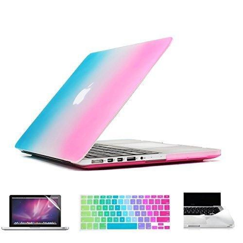 applefuns (TM) 4in 1Schutzhülle Hard Case + Keyboard Cover + Displayschutzfolie + PalmGuard für Apple MacBook Pro 33cm 38,1cm mit Retina Display regenbogenfarben Pro 13 Inches with Retina Display