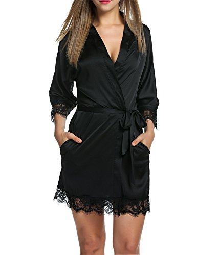 BeautyUU Damen Morgenmantel Kimono Bademantel Satin Nachthemd Nachtwäsche Schlafanzüge Mit Blumenspitze, 1-schwarz, M