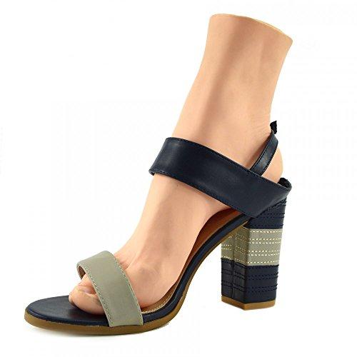 Kick Footwear - DONNA MULTICOLORE PEEP TOE FIBBIA DI CHIUSURA A BLOCCO TACCO SANDALI ESTIVI Marina