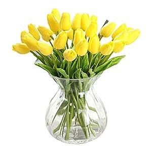 Weanty 10 piezas de flores artificiales de tulipán de látex, material de tacto real para decoración de boda, habitación…