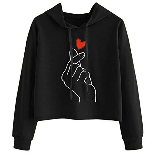 Damen Hoodie, VEMOW Plus Größe Langarm Brief Gedruckt Sweatshirt Jumper Bluse(X4-b-a-Schwarz, XL/40)