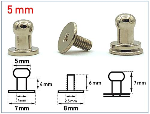 My Belt - 4 Stück Kopfnieten mit Schraubverschluss 5mm / Pilzkopfniete Silber, Knopfniete zum Anschrauben, Beiltaschenknopf