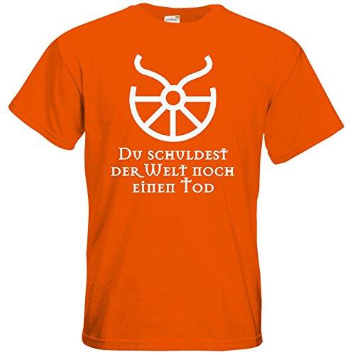 getshirts - Das Schwarze Auge - T-Shirt - Sprüche - Götter - Boron - Du schuldest der Welt noch einen Tod Orange