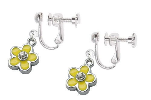 kids-clip-on-screw-type-earrings-yellow-flower-with-crystal-with-free-trinket-gift-box