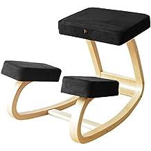 mallboo Original variable Balans–Silla ergonómica, de madera ergonómico silla de inclinación en negro/azul/verde/blanco/rojo Fabirc, marco de madera natural
