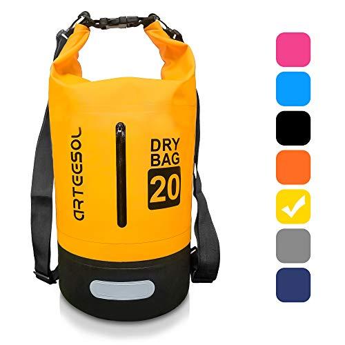 BKSTONE Bolsa Impermeable, Dry Bag/Mochila acuática/Bolsa de Supervivencia/Mochila Seca/Ideal para Kayak, Canoa, Pesca (Amarillo, 5L)
