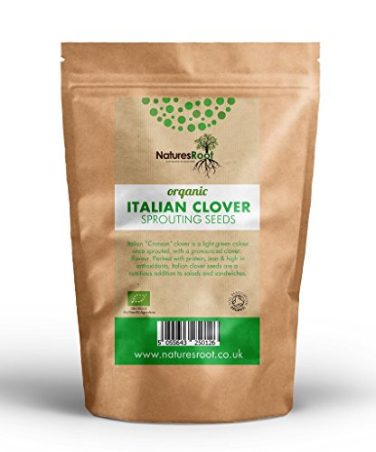 Natures Root Semi Germinazione Trifoglio Biologico Italiano - Superfood | No OGM | Germogli Microverdi | Piantagione Giardino | Giardinaggio Vegetale (250g)