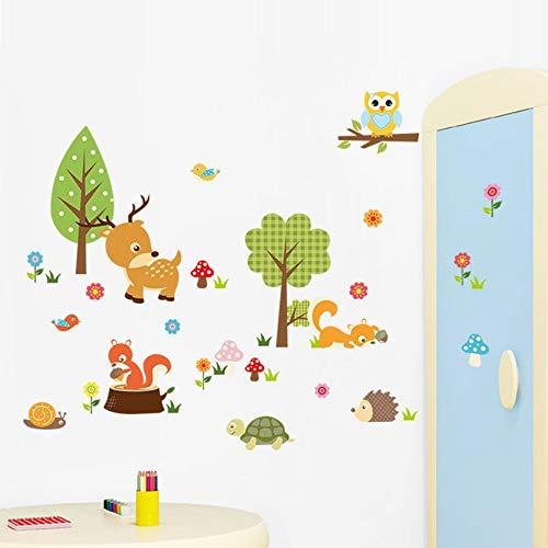 3D Cartoon Waldtiere Wandkunst Aufkleber Eulen Hirsch Blume Baum Aufkleber Safari Abenteuer Baby Kinder Kinderzimmer Wanddekoration