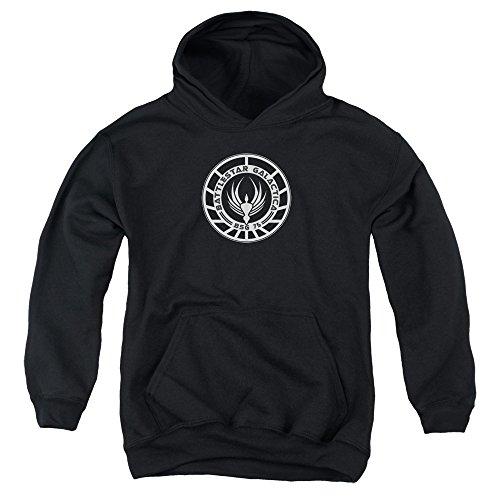 Battlestar Galactica Abzeichen (Battlestar Galactica Jugend Galactica Abzeichen Pullover Hoodie, X-Large, Black)