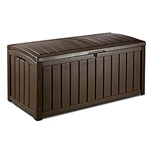 Keter Glenwood Outdoor Plastic Storage Box Garden Furniture, Brown, 128 x 65 x 61 cm