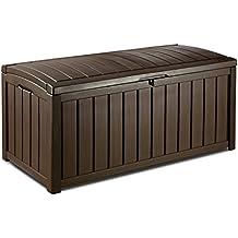 Keter Gartenkissenbox, Kissenbox Glenwood, Braun, 390L Kissenbox, regenfest