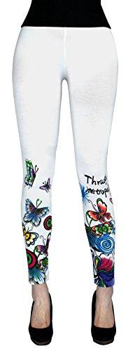 Damen Sommer Bunte Leggings Treggings mit Blumenmuster Flower Print - YLG045-049 (Weiß - YLG046)