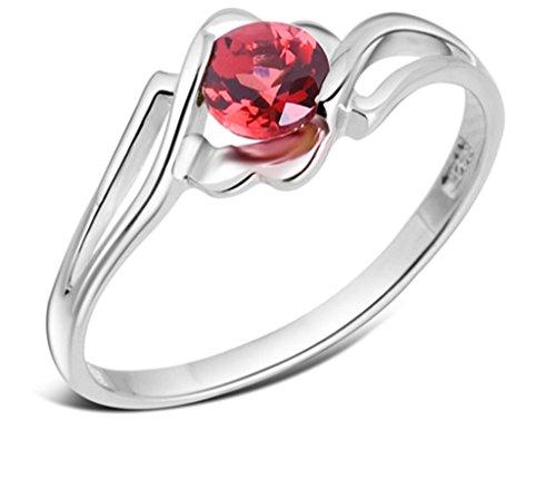 Daesar Silber Damen Runder Schnitt Ringe Rot Rhinestone Zirkonia Ringe Verlobung Ring für Damen Größe:56 (17.8)