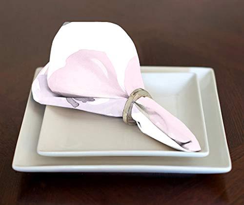 A LuxeHome Servietten, Shabby-Chic-Stil, Aquarell-Rosen-Blumenmuster, 43,2 x 43,2 cm, Lavendel/Pink/Grau/Weiß