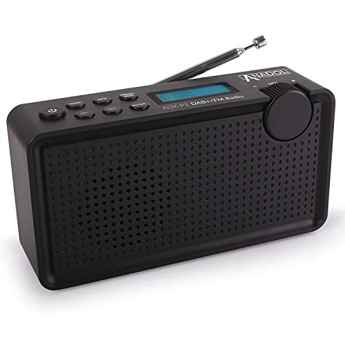 Anadol ADX-P1 DAB/DAB+/UKW/FM Radio - 20 Senderspeicherplätze, tragbar, zweizeiliger LCD-Display, Sleep-Timer, Akku & Netzbetrieb, Lautsprecher & Kopfhöreranschluss, USB-Ladekabel - schwarz Digital Outdoor Tv