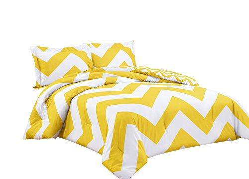 chezmoi Collection 3tlg. Zig Zag Bettbezug Set, Mikrofaser, gelb, King Size - King-set Bettbezug Gelb