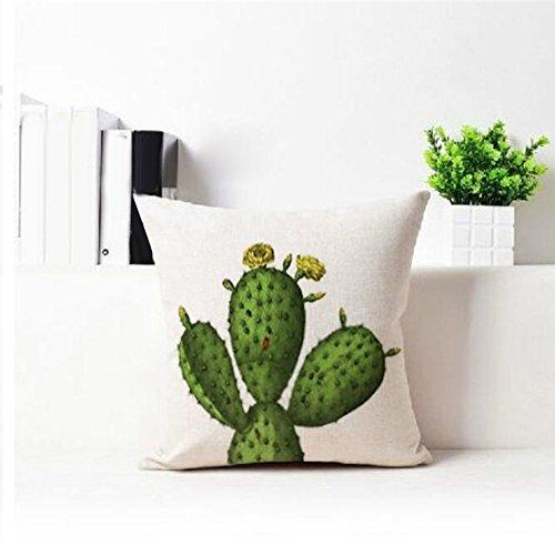 Morbida fodera copricuscino in lino Bibabo25, fantasia con vasetti di cactus, per cuscini da divano, Lino, 4#, taglia unica