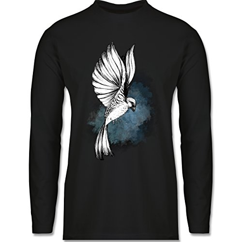 Shirtracer Vögel - Vogel Aquarelle Zeichnung - Herren Langarmshirt Schwarz