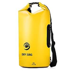 Sacca Impermeabili Borsa Waterproof 40L, GrandBeing® Borse Impermeabili Dry Bag con Tracolla Regolabile, Una Spalla o Alle Spalle, per Attività all'Aperto e Sport d'Acqua (Giallo)