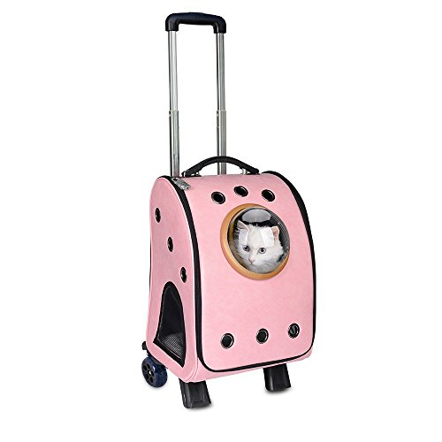 Louvra Pet Travel Trolley Waterproof Cat Carrier on Wheels PU Astronaut Bubble Cat Dog Backpack Carrier Soft-Sided Portable Rolling Carrier Packs with Telescopic Handle,Pink