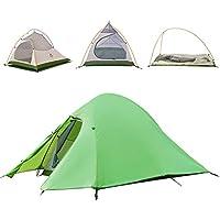 Naturehike - tienda de campaña para 2 – 3 personas, 6 estaciones, doble capa, caña de aluminio, material ultraligero anti-UV resistente al viento e impermeable, para camping, senderismo, viajes, caza (2 personas-Verde)