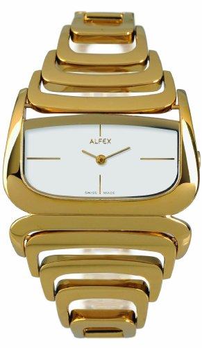Alfex - 5669_021 - Montre Femme - Quartz Analogique - Cadran Gris - Bracelet Acier plaqué Doré