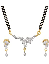 The Luxor Classic Gold Plated Australian Diamond Studded Designer Mangalsutra For Women(MS-1333)