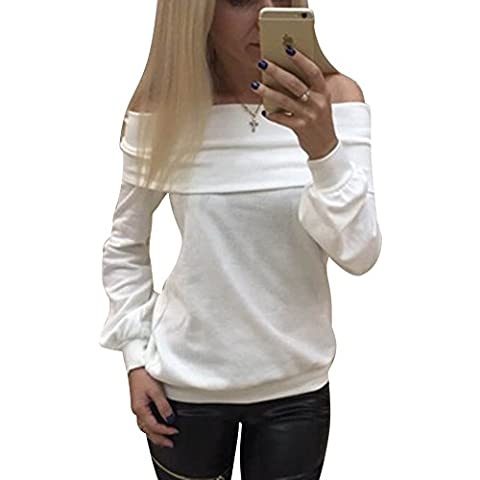LaoZan Manica Lunga Off Shoulders Casual Donne Misto Cotone Shirt Pullover Felpe Sportive Bianco S