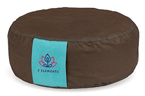 Zafu Yoga Meditationskissen mit DOPPELSEITIGER BEZUG, ca. 36 cm Durchmesser, anpassungsfähige Höhe, mit Dinkelschalen gefüllt, EXTRA 100 GR. DINKEL-SÄCKCHEN INKLUSIVE