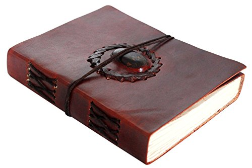 RUSTIC TOWN Handmade Vintage Antique Look Genuine Leather Bound Semi-Precious Stone Journal Diary Notebook Travel Book with Blank Unlined Pages to Write for Men Women Gift for Him Her