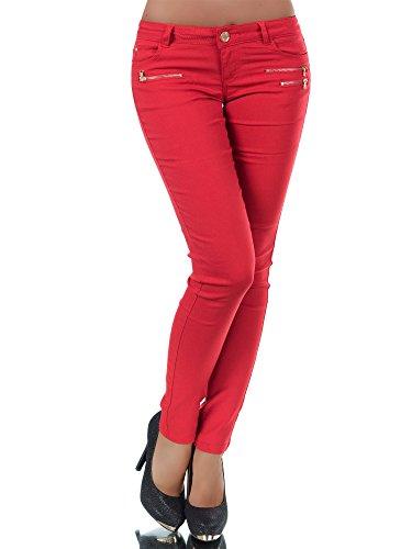 Diva-Jeans L958 Damen Hose Treggings Leggings Stoffhose Freitzeithose Röhrenhose Leggins, Größen:34 (XS), Farben:Rot