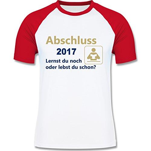 Abi & Abschluss - Abschluss 2017 - Lernst du noch oder lebst du schon? - zweifarbiges Baseballshirt für Männer Weiß/Rot