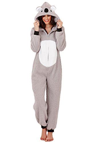 Pyjama Peignoir Combinaison Polaire à Capuche Tout En Un Longueur Totale pour Femmes Filles - Gris - Koala, S (EU 36-38)