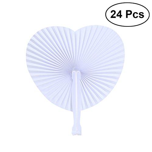 Vosarea 24 PCS White Folding Paper Fans Herzförmiges Sortiment mit Kunststoffgriff für Hochzeit Gunsten Party Bag Füller