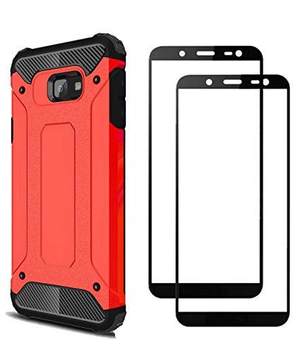 FANFO® Samsung Galaxy J4 core Hülle + [2 Stück] Gehärtetem Glass, TPU + PC-Kombination Langlebig Schutzhülle + 9H Härte Bildschirmschutzfolie Folie für Samsung Galaxy J4 core, rot