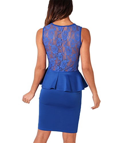 KRISP® Damen Minikleid mit Schößchen & Spitze Königsblau (3127)