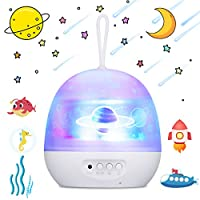 Baby Projector Light, Luchild 4 in 1 LED Ocean Projector Lamp, ZOTO 360°Rotating Starry Night Light Projector for Kids Bedroom Decoration, Projector Light with 8 Colors Changing Adjustment
